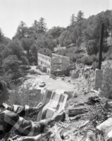 Man looking towards the ruins of the Mt. Lowe Tavern, Los Angeles County, 1955