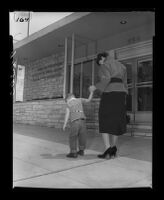 Mother takes child to the Los Angeles State Mental Hygiene Clinic, Los Angeles, 1955