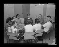 Gateways psychiatrists conducting group therapy, 1958.