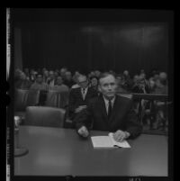 Jack Kurschke seated in the courtroom during his trial, Los Angeles, 1967