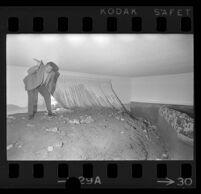 Robert Schultz stands in his mud-filled living room, Glendora, 1969