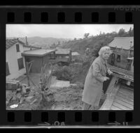 Wrecked Garage of Marie Berry after rain storm, Mount Washington (Los Angeles), 1969