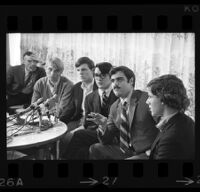 California university student association leaders convene at press conference at UCLA, 1969