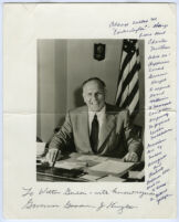 """Signed photograph of Governor Goodwin """"Goodie"""" Knight, 1950s"""