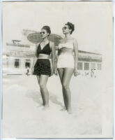 Ethel (Sissle) Gordon and an unidentified woman in bathing suits, Atlantic City, 1940s