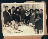 Table of gifts at a party, Los Angeles, 1940s
