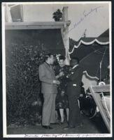 Actor Monte Hawley at a garden party, Los Angeles, 1940s