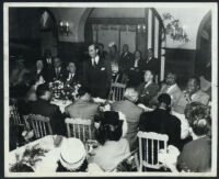 Judge Stanley Mosk addressing an event, Los Angeles, 1940s