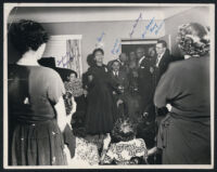 Diplomat Ralph J. Bunche being feted at Bea DeVaughn's house, Los Angeles, 1949