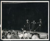 Frank Sinatra and Joe Louis on stage, Los Angeles, 1947