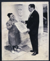 Charlotta Bass with Walter L. Gordon, Jr. at the National Baptist Convention of the U.S.A., Los Angeles, 1949