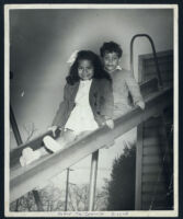 Cynthia and Noble Sissle Jr. at the home of Walter L. Gordon, Jr. and Ethel (Sissle) Gordon, Los Angeles, 1940s