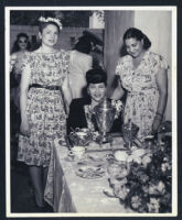 Ethel Sissle, Marva Louis, and Catherine Garcia at Noble Sissle's house, Los Angeles, 1940s