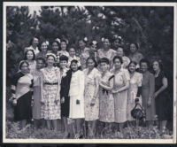 Women at garden party at Noble Sissle's house, Los Angeles, 1940s