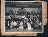 Formal event attended by physicians and others at a hall, Los Angeles 1940s