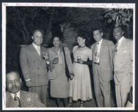Group at a garden party, Los Angeles, 1940s