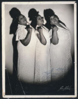 Peters Sisters publicity photograph by James Kreigsman, inscribed to Ethel Sissle, 1940s