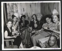 Alyce Key and other partygoers at a club, Los angeles, 1940s