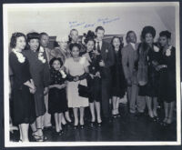 War Perkins, L'Tanya, and Herb Jeffries in a group, Los Angeles, 1940s