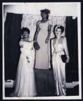 Three African American women models, Los Angeles, 1940s