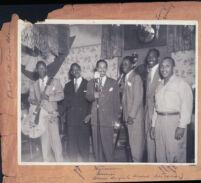 Wynonie Harris, Lorenzo Flennoy, and Dan Grissom at Al Austin's Casa Blanca nightclub, Los Angeles, 1940s