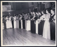Gathering of formally dressed young women, Los Angeles, 1940s