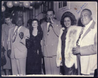Unidentified Woman, William Goodloe, Juanita Goodloe, Walter Gordon, Jr., Liz McCullough, and Mye Haddox in Los Angeles, circa 1951