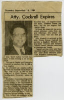 Obituary for attorney Welch LaBan Cockrell, September 1984