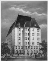 Apartments (French), unbuilt concept, photograph of rendering