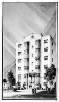Apartments (Moderne), unbuilt concept, photograph of rendering