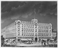 Hollywood Western Building, Los Angeles, photograph of rendering