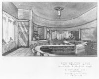 Melody Lane Restaurant, Hollywood, interior rendering, lunch counter