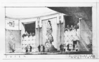 Mexico Theatre 1945, photograph of rendering, foyer
