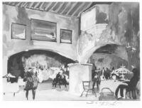 Mexico Theatre 1945, photograph of watercolor rendering, restaurant