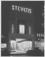 Steven's Clothing Store, façade at night