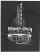 Tower Theatre, Compton, façade, night
