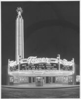 Tower Theatre, Fresno, exterior, night