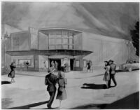 Visalia Theatre, Visalia, photograph of rendering, waltercolor