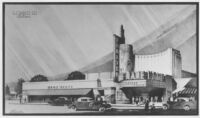 Vogue Theatre, South Gate, photograph of colored rendering