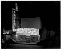 Vogue Theatre, South Gate, exterior, night