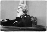 Evangelist Aimee McPherson appearing in court to confront a suit brought against her, Los Angeles, 1935