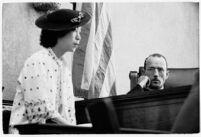 Myrtle Takaoka, sister of slain dancer, testifies in court with Judge Irvin Taplin presiding, Los Angeles, 1936