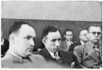 Raymond E. Johnson, confessed murderer of young dancer Midi Takaoko, sits in court, Los Angeles, 1936