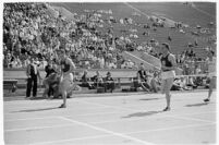 Finish of a race during a track meet between UCLA and USC, Los Angeles, 1937