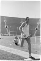 UCLA track athlete about to perform the long jump, Los Angeles, 1937