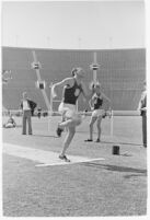 USC track athlete about to perform the long jump, Los Angeles, 1937