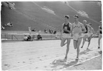 UCLA and USC track athletes racing at the Coliseum, Los Angeles, 1937