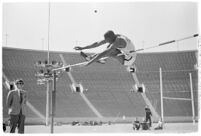 UCLA high jumper in mid-leap, Los Angeles, 1937