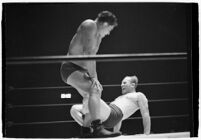 "Sandor Szabo and Gino ""Red"" Vagnone wrestle, circa summer 1937."