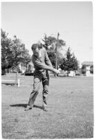 """Golfer Fay Coleman demonstrates a series of """"right"""" and """"wrong"""" golf swings."""